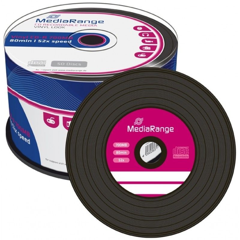 Mediarange Vinyl Discs With Black Dye Cd R 52x 700mb Mr225