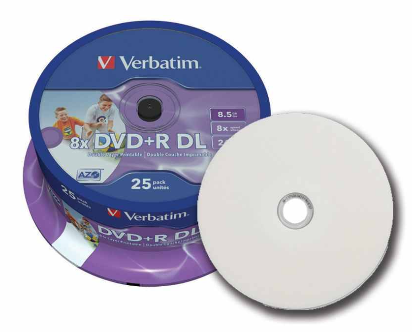 photo relating to Verbatim Cd R Printable identify 100 Verbatim Printable Twin Layer DVD+R 8x DL Double layer blank Discs 8.5GB 43667