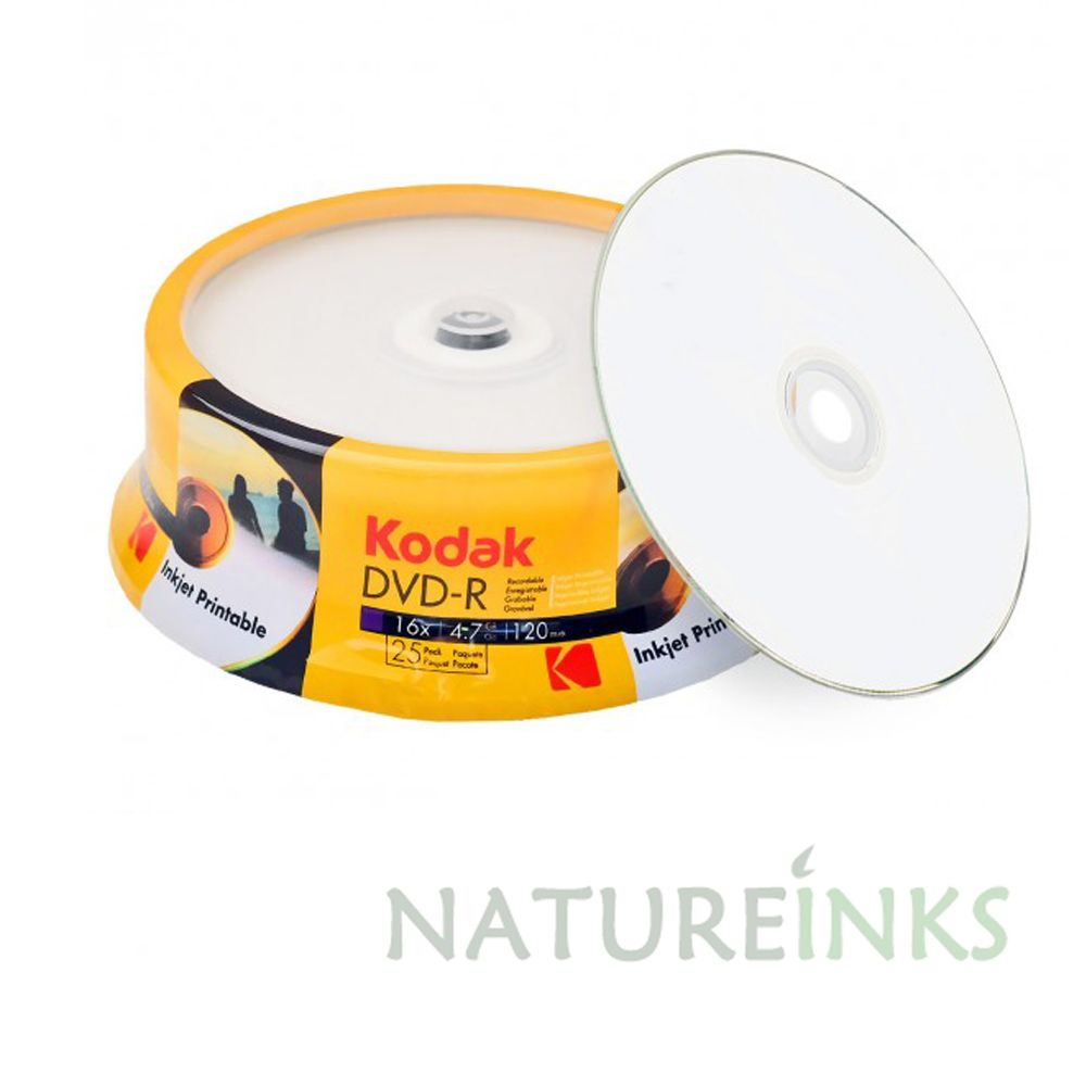 graphic relating to Printable Dvd-r identify 25 Kodak White inkjet Printable Blank DVD-R 16x 4.7GB 120 mins Discs Cakebox