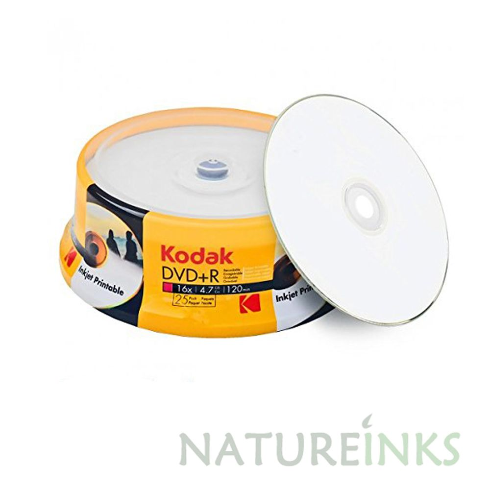 graphic about Inkjet Printable Dvd called 25 Kodak White inkjet Printable Blank DVD+R 16x 4.7GB 120 mins In addition Discs Cakebox