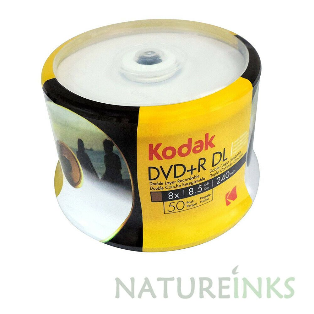 image about Printable Dvd Disc named 50 Sincere KODAK Blank Printable DVD+R DL Twin Double Layer 8.5GB Disc 8x