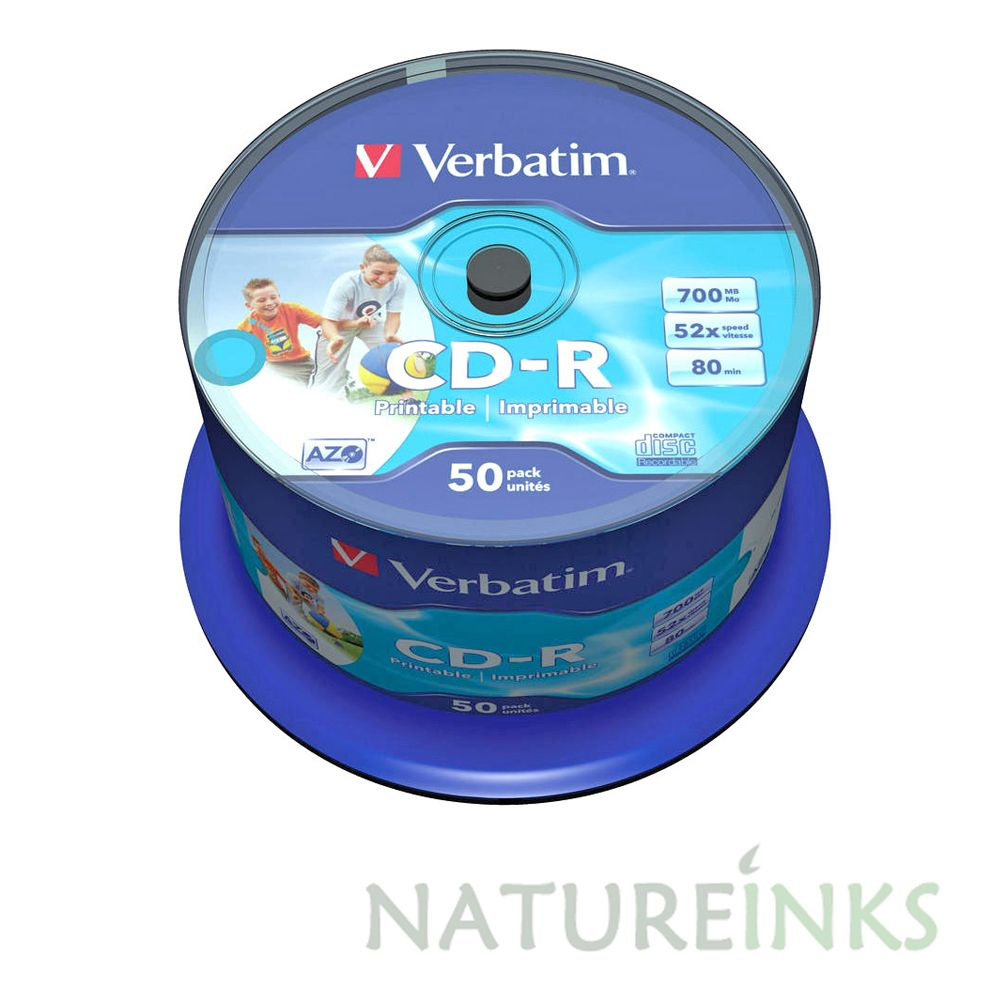 graphic relating to Verbatim Cd R Printable titled 50 Truthful Verbatim Blank CD-R White Printable 700MB 52x 80Mins 43438 Spindle NO-Identification