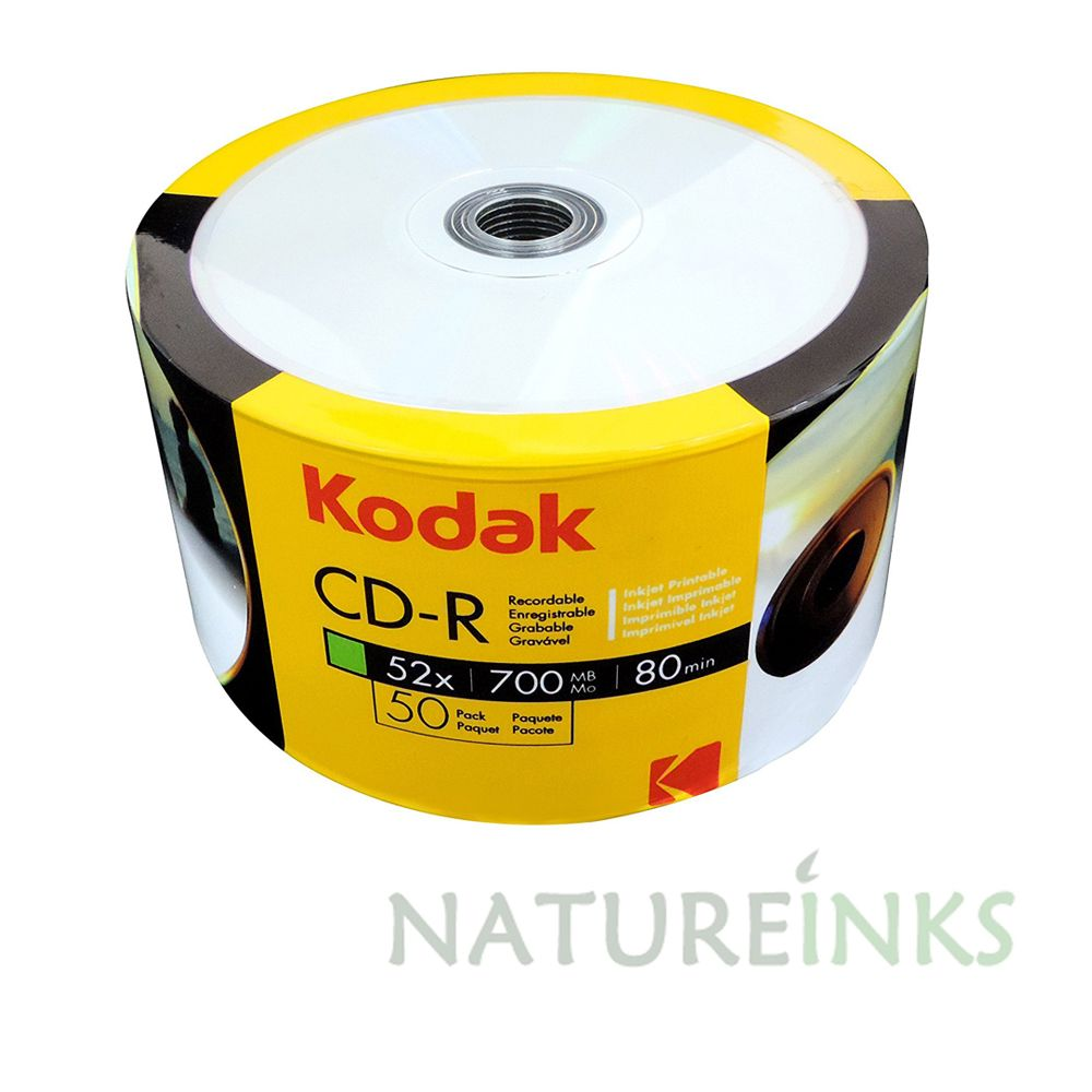photo relating to Blank Printable Cds titled 50 Kodak Hub Inkjet Printable White Blank CD-R 52x 700MB 80 minutes CD Discs
