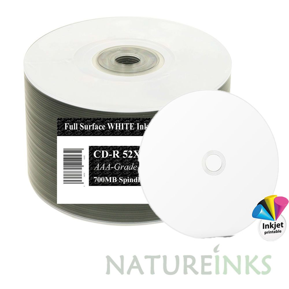 picture regarding Printable Blank Cds named 50 Ritek OEM Total Confront White Printable Blank CD-R CD 52x Discs 700MB 80min